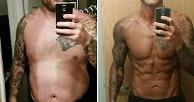 Man transformed from overweight to lean with SB Nutrition